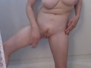 Shaves and cares blonde pussy in bathroom