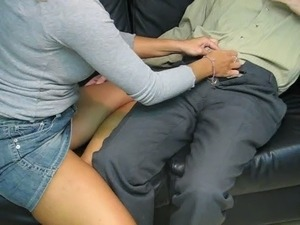 Secretary gives boss Handjob