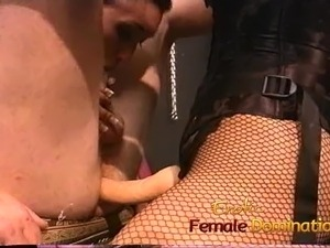Two kinky brunette sluts enjoy fucking a horny well-hung