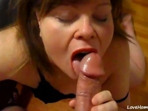 Cum bag wife sucking and cum swallow