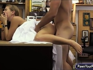 Babe sells her wedding dress and screwed at the pawnshop