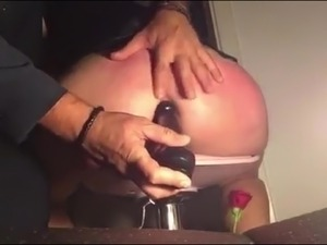 Au-pair girl whip anal play black dildo