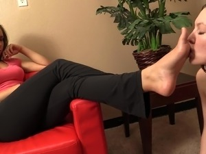 Spoiled Mistress and her lesbian foot slave