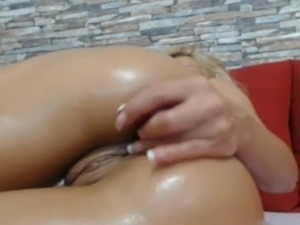 Hot Blonde Shoves A Dildo In Her Ass