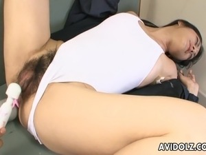 Huge pussy Asian bitch gets toy fucked strongly