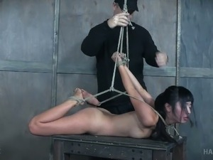Small tittied Asian hoe Marica Hase gets fucked and punished in the bdsm room