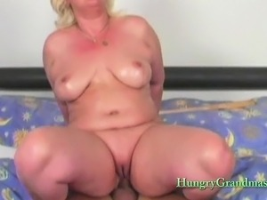 Fat Blonde Granny Plays With A Stud