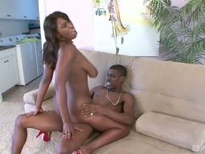 Ebony whore Delotta Brown gives blowjob outdoor and rides dong indoor