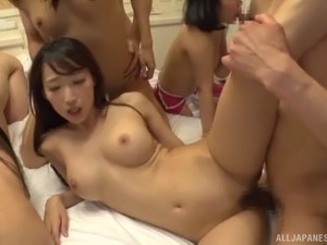 Glamorous models from Japan sucking and getting bonked together