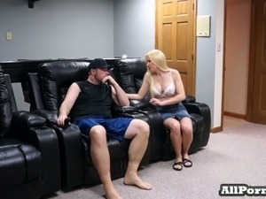 Blonde and busty neighbor lady loves sex on cam with me