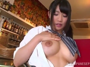 Adorable Japanese bimbo in sexy panties fingering her hairy pussy in public...