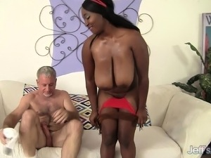 Big breasted chocolate hottie Marie has a white guy banging her peach