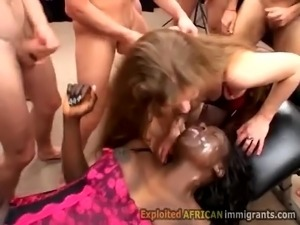2 white sluts help hot ebony in gangbang