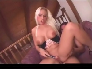 Sexy slutty blonde babe dildos cunt and gives guy horny fuck