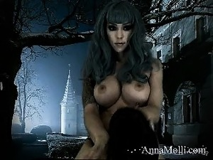 Blue haired nympho with big round breasts sensually touches