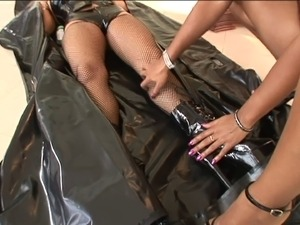 Anal hookers in leather gets fucked after licking cock and balls