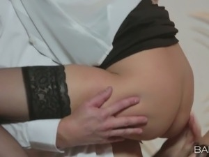 Aidra Fox and her colleague give blowjob to horny boss