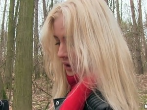Perverted picked up blonde shows tits and gets fucked outdoor