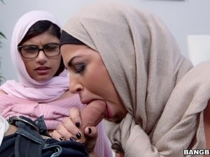 Two arab bitches Julianna Vega and Mia Khalifa share a cock