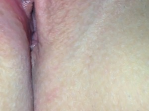 Wet pussy being licked close up