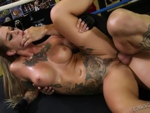 Sporty tattooed blonde babe gets fucked real hard