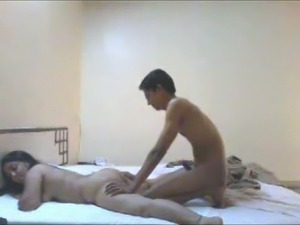Chubby Indian girlfriend and her skinny fuck buddy on the bed