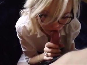 Blonde school girl gives hot blowjob with facial as ending