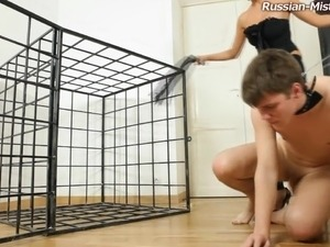 Anna releases her prisoner and orders him to lick her sexy feet