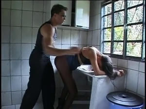 Tranny gets ass fucked with dildo and then cock in old house