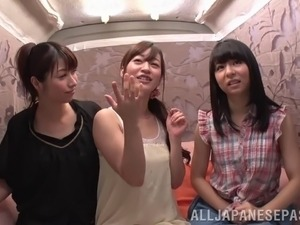Vixenish Japanese cowgirls messing around in a juicy lesbian threesome