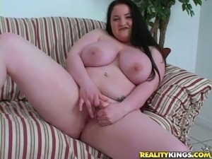 Fat brunette masturbates and gets titty fucked