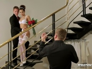 Gorgeous bride is being fucked double on the stairs
