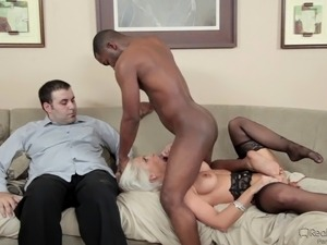 Beautiful bleach blonde wife cheats with a black guy