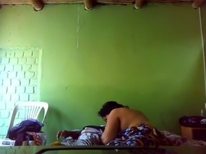 Chubby housewife riding big on top in amateur Indian porn clip