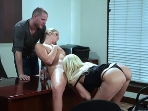 FFM threesome done office style shows porn star blondes Breanne and Jessie