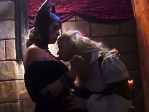 Sleeping beauty Anikka Albrite fucks nasty Maleficent at her palace