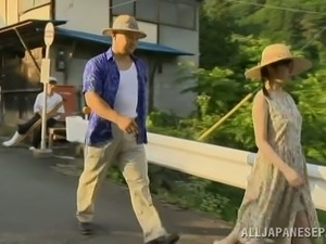 Mature Japanese woman gets fucked by some guys in a village
