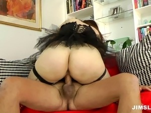 Chubby British pornstar blows a dick then takes it deep in her twat