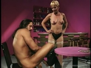 MILF in stockings gives nice blowjob then pounded in retro action