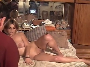 Busty fair haired bitch fingers her smelly vagina in bed