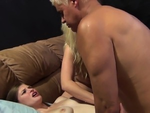 Stunning girls Britney, Brooklyn and Lara take turns on a long shaft