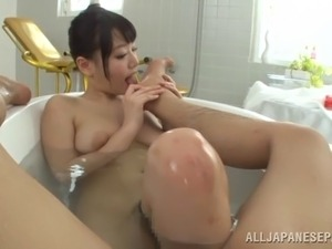 Cute Asian chick with big tits licking and sucking a stranger's cock