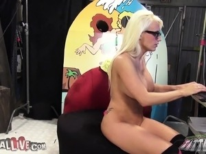 Voluptuous blonde Jacky Joy has a wet honey hole needing to be filled