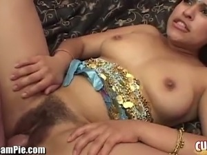 Chubby Indian beauty gives head outdoors and gets fucked mish style