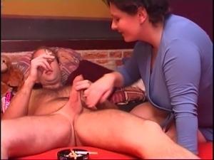 Old & Young - mom gags on cock, fucks and smokes