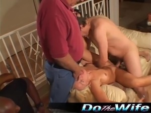 Blonde Housewife fucks porn stud