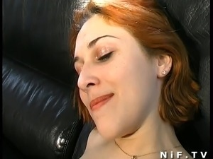 Beautiful french redhead slut hard fucked