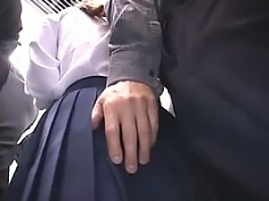 Japanese Schoolgirl Fucked and Fingered In Public Train