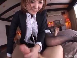 Slutty Japanese office woman in sleazy pantyhose drilled hard