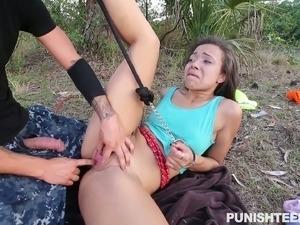 Slim brunette chick Adrian Maya gets her tight shaved muff banged